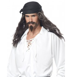 Pirate wig, moustache & chin patch